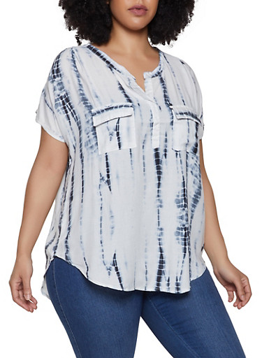 Plus Size 2 Pocket Tie Dye Top,BLACK,large