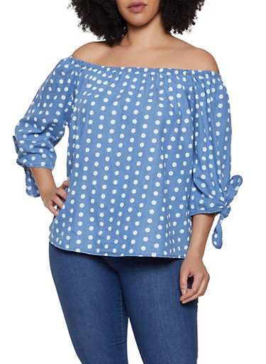 Plus Size Off the Shoulder Polka Dot Denim Top,BABY BLUE,large