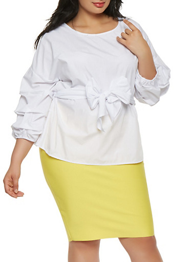 Plus Size Bubble Sleeve Tie Waist Top,WHITE,large