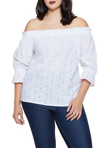 Plus Size Eyelet Off the Shoulder Top | 0803051060744,WHITE,large