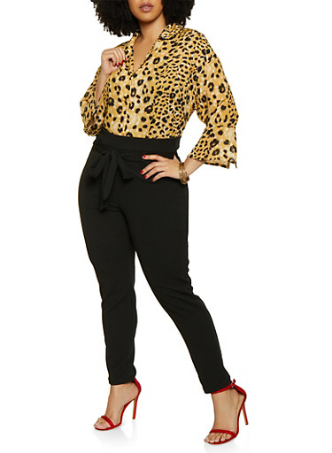 Plus Size Leopard Bell Sleeve Shirt,BROWN,large