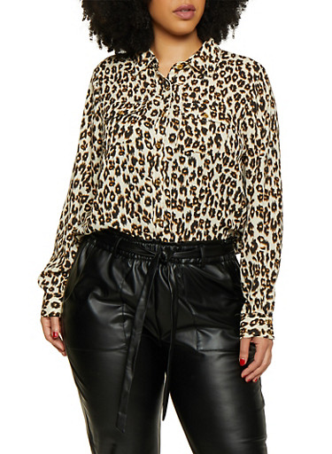 Plus Size Leopard Crepe Knit Shirt by Rainbow