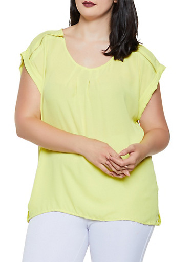 Plus Size Zip Shoulder Detail Blouse,YELLOW,large
