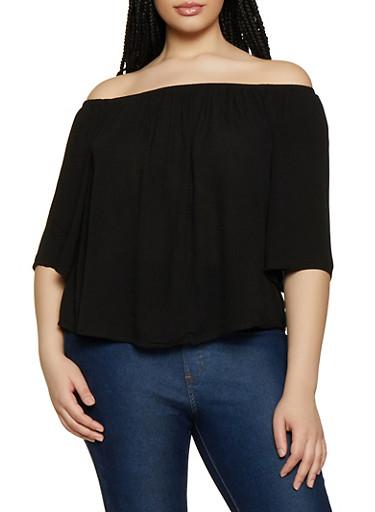Plus Size Off the Shoulder Top   0803054269389,BLACK,large