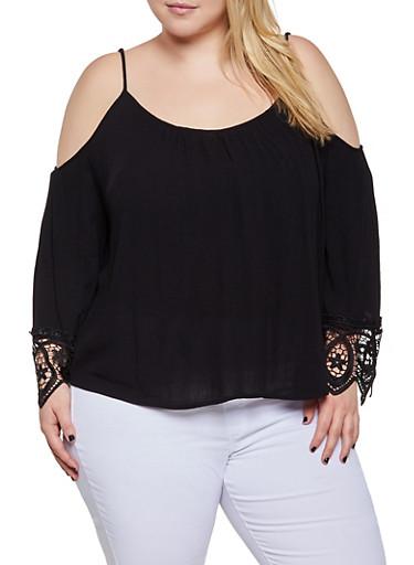 Plus Size Crochet Bell Sleeve Cold Shoulder Top,BLACK,large