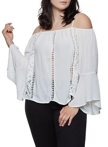 Plus Size Lace Insert Cold Shoulder Top,IVORY,large