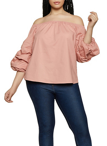 Plus Size Tiered Sleeve Off the Shoulder Top,MAUVE,large