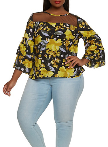 Plus Size Floral Tiered Sleeve Top,BLACK,large
