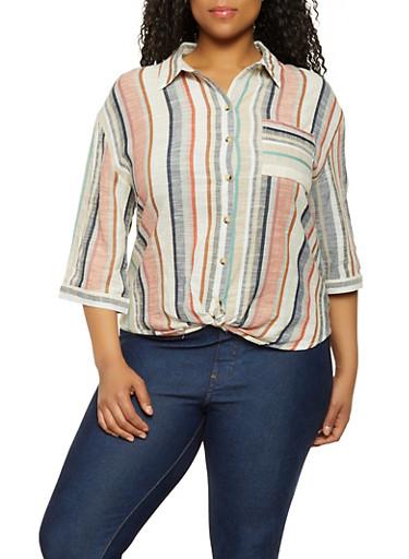 Plus Size Linen Twist Front Shirt,MULTI COLOR,large