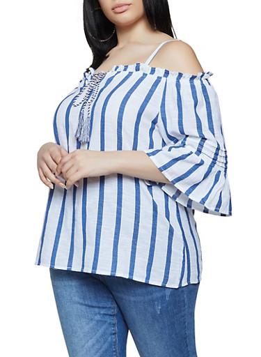 Plus Size Striped Linen Cold Shoulder Top,BLUE,large