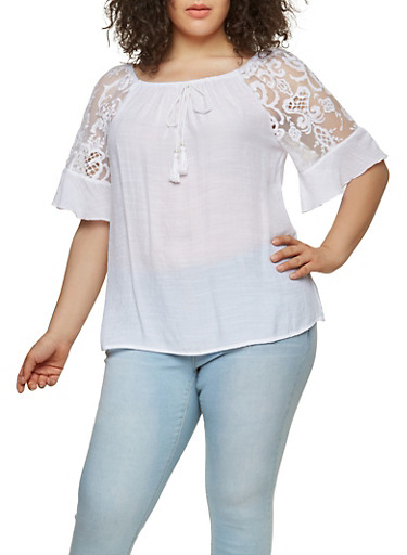Plus Size Embroidered Mesh Sleeve Top,WHITE,large