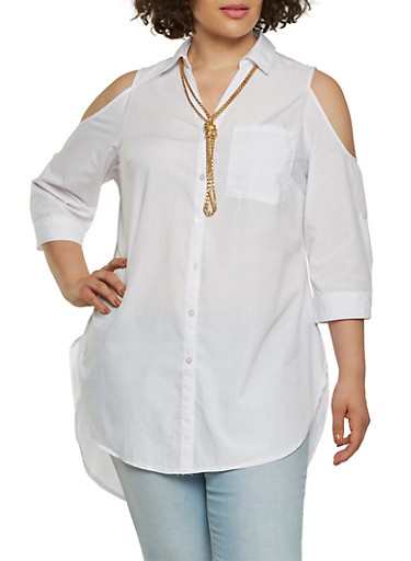 Plus Size Cold Shoulder Tunic Top,WHITE,large
