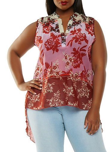 Plus Size Printed High Low Top,PLUM,large