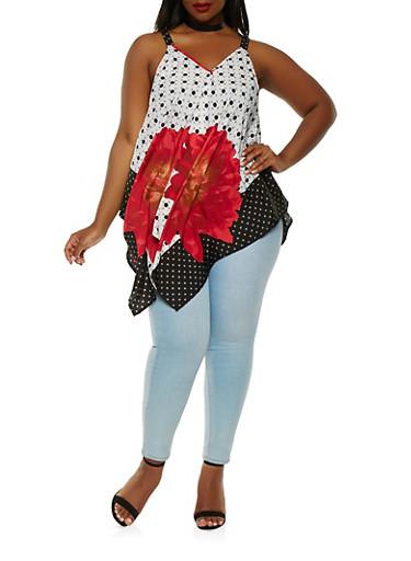 Plus Size Sleeveless Printed Sharkbite Top,RED,large