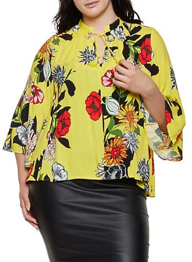 Plus Size Floral Tassel Tie Neck Top,GOLD,large