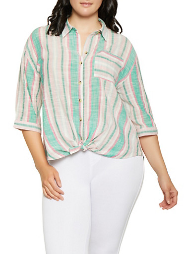 Plus Size Tie Button Front Striped Shirt,PINK,large