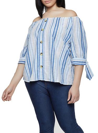 Plus Size Striped Off the Shoulder Linen Top | 0803056125113,BLUE,large