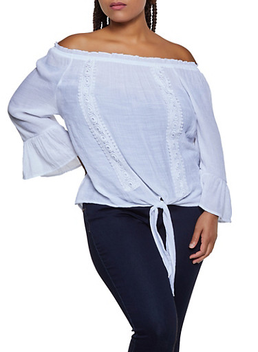 Plus Size Off the Shoulder Bell Sleeve Peasant Top,WHITE,large