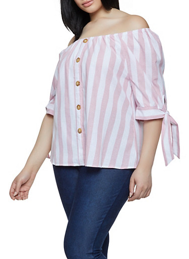 Plus Size Striped Linen Off the Shoulder Top,PINK,large