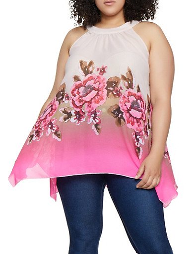 Plus Size Sleeveless Flower Border Print Top,FUCHSIA,large