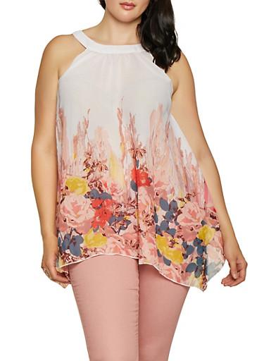 Plus Size Floral Border Print Sleeveless Top,WHITE,large