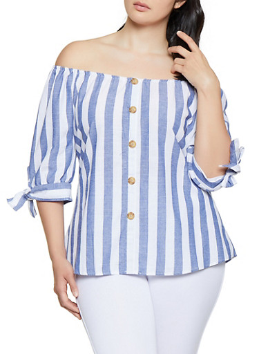 Plus Size Tie Sleeve Off the Shoulder Top,BLUE,large