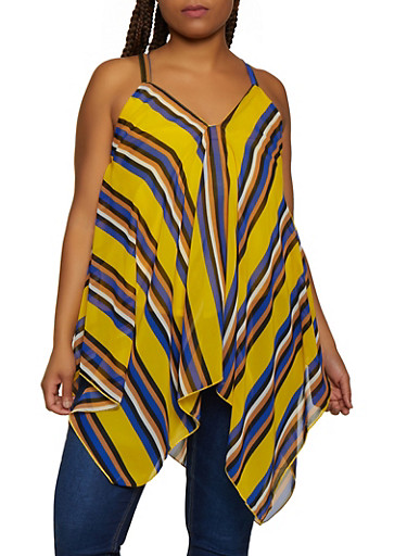 Plus Size Striped Sharkbite Top,YELLOW,large