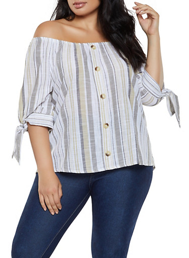 Plus Size Off the Shoulder Striped Linen Top,KHAKI,large