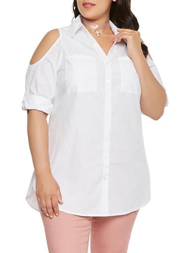 Plus Size Cold Shoulder Tunic Top - 0803056127082