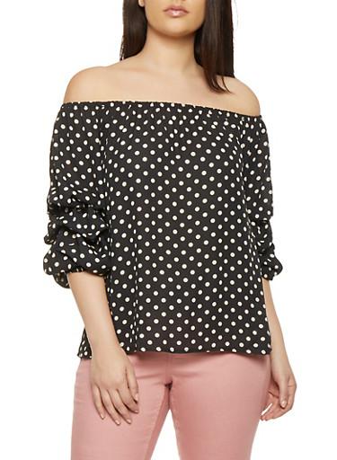 Plus Size Off the Shoulder Polka Dot Top,BLACK,large