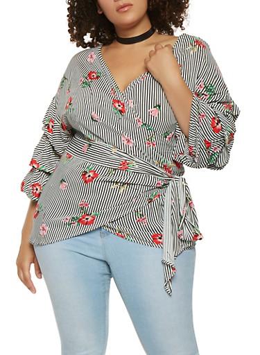 Plus Size Striped Floral Wrap Top,BLACK,large