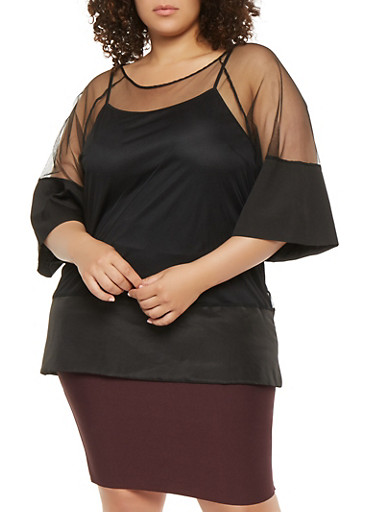 Plus Size Mesh Tunic Top,BLACK,large