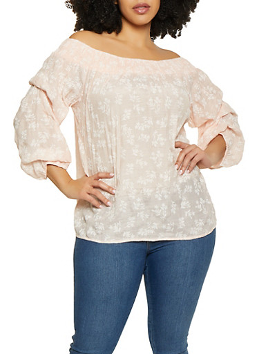Plus Size Gauze Knit Floral Off the Shoulder Top,BLUSH,large