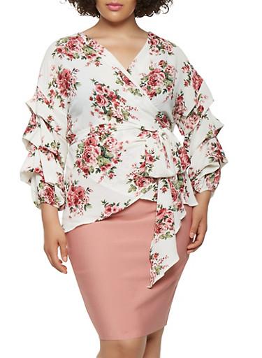 Plus Size Bubble Sleeve Floral Wrap Top,IVORY,large