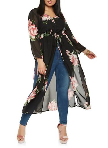 Plus Size Floral Maxi Top,BLACK,large