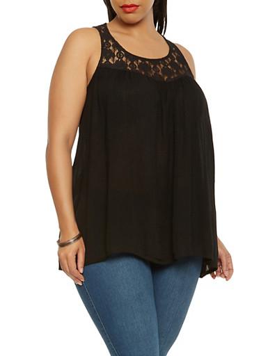 Plus Size Lace Yoke Tank Top,BLACK,large