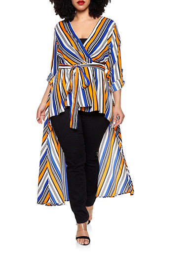 Plus Size Striped High Low Wrap Top,RYL BLUE,large