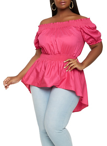 Plus Size Off the Shoulder High Low Top,FUCHSIA,large