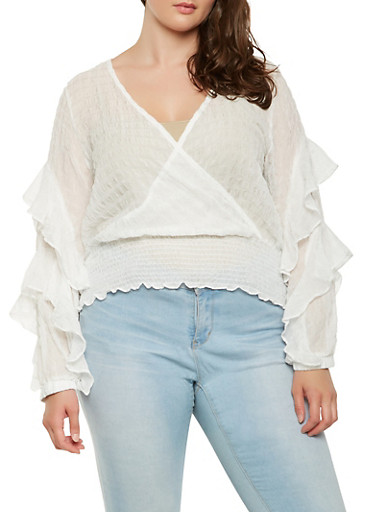 Plus Size Ruffled Faux Wrap Top,WHITE,large