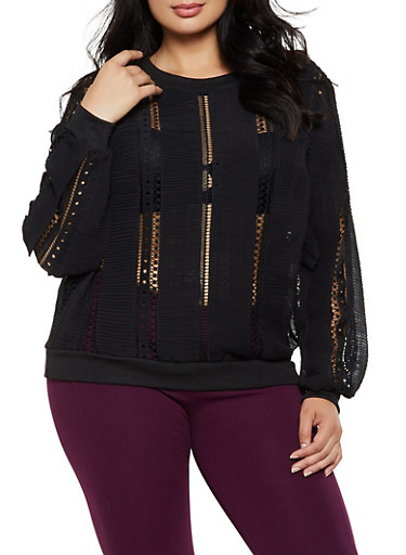 Plus Size Crochet Trim Pleated Top,BLACK,large