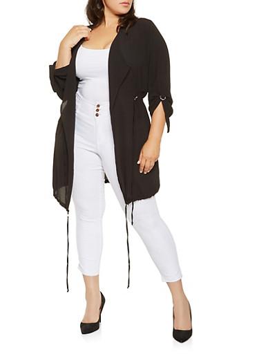 Plus Size Drawstring Detail Flyaway Jacket,BLACK,large