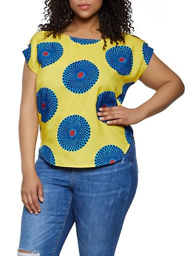 Plus Size Printed Tab Shoulder Top,ORANGE,large