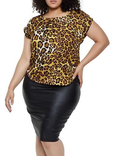 Plus Size Leopard Tab Shoulder Blouse,BROWN,large
