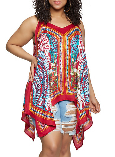 Plus Size Printed Sleeveless Sharkbite Top,RED,large