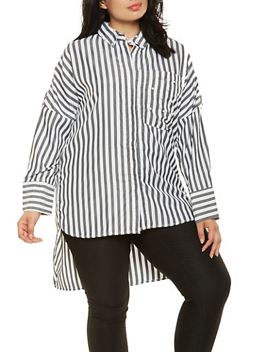 Plus Size Faux Pearl Studded Striped Tunic Top,BLACK,large