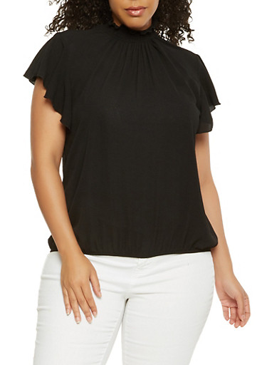Plus Size Smocked Neck Flutter Sleeve Top | Tuggl