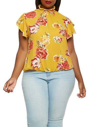 Plus Size Smocked Neck Floral Top,MUSTARD,large