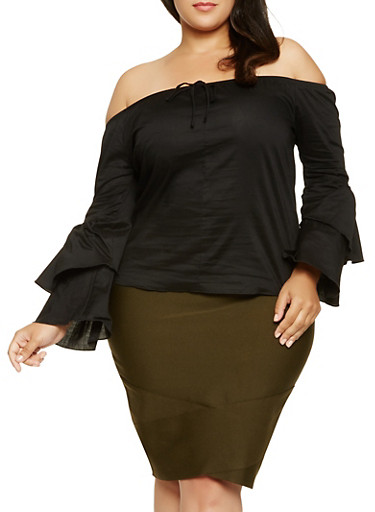 Plus Size Tiered Sleeve Off the Shoulder Top,BLACK,large