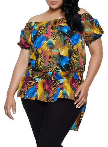 Plus Size Off the Shoulder Printed High Low Top,BLUE,large