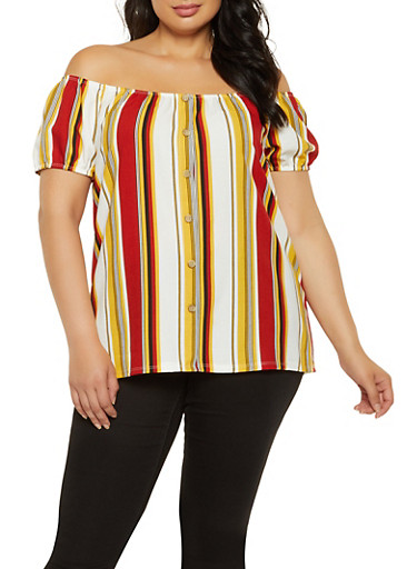 Plus Size Striped Off the Shoulder Button Front Top,RED,large